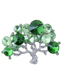 Fashion Silver Color+green Tree Shape Decorated Brooch