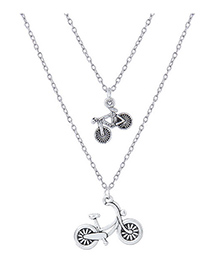 Elegant Silver Color Bicycle Pendant Decorated Double Layer Necklace