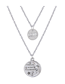 Elegant Silver Color Love Pendant Decorated Double Layer Necklace