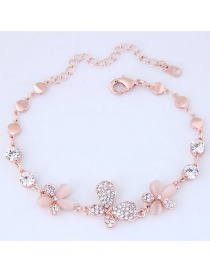 Elegant Rose Gold Color Flower Shape Decorated Bracelets
