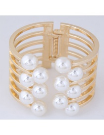 Exaggerated Gold Color Pearl Decorated Bracelets