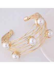 Fashion Gold Color Hollow Out Decorated Opening Bracelets