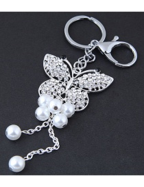 Fashion Silver Color Butterfly Shape Decorated Keychain
