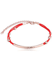 Fashion Rose Gold+red Balls Shape Decorated Color Matching Bracelet