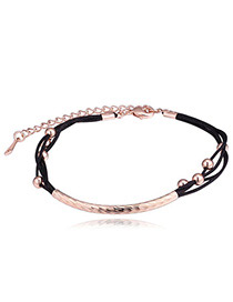 Fashion Rose Gold+black Balls Shape Decorated Color Matching Bracelet