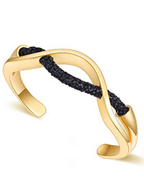 Fashion Champagne+black Irregular Shape Design Simple Bracelet