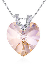 Fashion Gold Color Heart Shape Diamond Decorated Necklace