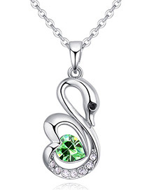 Fashion Green Swan Pendant Decorated Necklace
