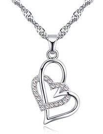 Fashion White Heart Shape Pendant Decorated Necklace