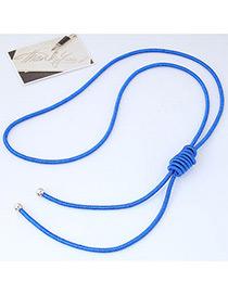 Fashion Sapphire Blue Pure Color Decorated Knot Design Necklace