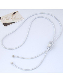 Fashion Silver Color Pure Color Decorated Knot Design Necklace