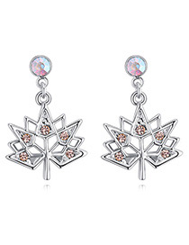 Fashion Champagne Maple Leaves Shape Design Simple Earrings