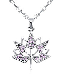 Fashion Purple Maple Leaves Pendant Decorated Necklace