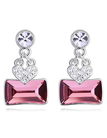 Fashion Pink Square Shape Diamond Decorated Earrings