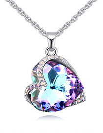 Fashion Purple Heart Shape Diamond Decorated Necklace