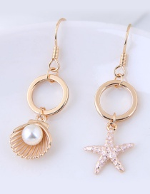 Fashion Gold Color Shell And Star Shape Decorated Earrings