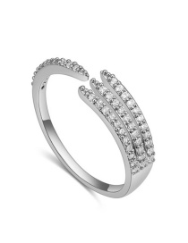 Fashion Silver Color Multi-layer Shape Decorated Open Rings