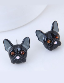 Lovely Black Dog Shape Decorated Earrings