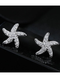 Elegant Silver Color Starfish Shape Decorated Earrings
