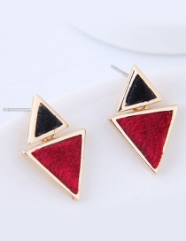 Fashion Red+black Triangle Shape Decorated Earrings