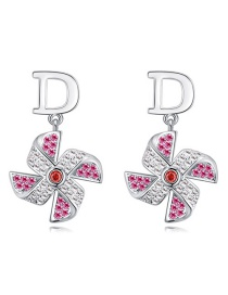 Fashion Pink Windmill Shape Decorated Earrings