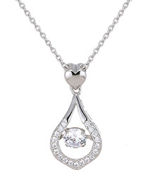 Elegant Silver Color Water Drop Decorated Necklace
