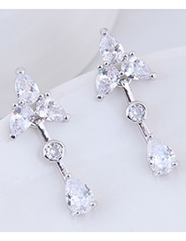 Sweet Silver Color Triangle Shape Decorated Long Earrings