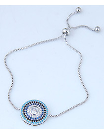 Sweet Blue+silver Color Round Shape Decorated Color Matching Bracelet