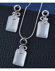 Fashion Silver Color Square Shape Decorated Jewelry Sets