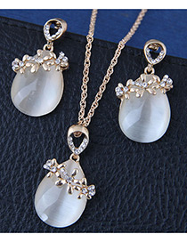 Fashion Gold Color Flower Shape Decorated Jewelry Sets