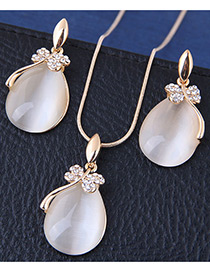 Fashion Gold Color Waterdrop Shape Decorated Jewelry Sets