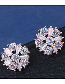 Fashion Rose Gold Color Snowflake Shape Decorated Earrings