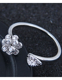 Fashion Silver Color Flower Shape Decortaed Opening Ring