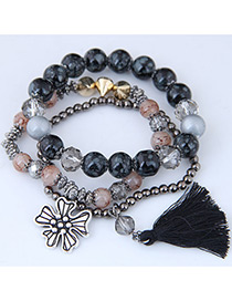 Fashion Black Tassel Shape Decorated Multilayer Bracelet