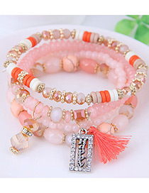 Fashion Orange Square Shape Decorated Multilayer Bracelet