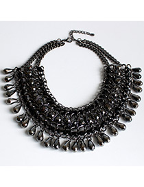 Trendy Gun Black Pure Color Decorated Multi-layer Necklace