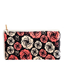 Fashion Black Flower Pattern Decorated Cosmetic Bag