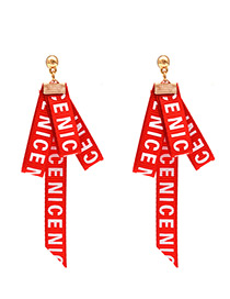 Fashion Red Letter Pattern Decorated Earrings