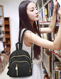 Fashion Black Zipper Decorated Backpack