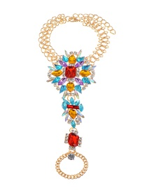 Fashion Blue+red Water Drop Shape Decorated Anklet