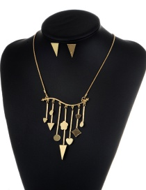 Fashion Gold Color Triangle&heart Shape Decorated Jewelry Set