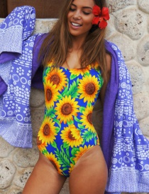 Fashion Multi-color Sunflower Pattern Decorated Bikini