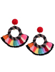 Fashion Multi-color Tassel Decorated Sector Shape Earrings