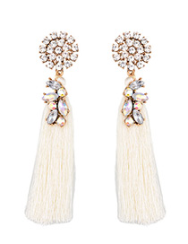 Trendy White Pure Color Decorated Long Tassel Design Earrings