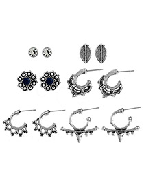 Fashion Antique Silver Pure Color Decorated Hollow Out Earrings(6pairs)