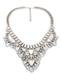 Fashion Silver Color Triangle Shape Gemstone Decorated Necklace