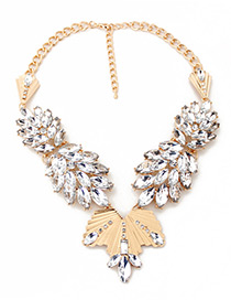 Fashion White Leaf Shape Decorated Simple Necklace