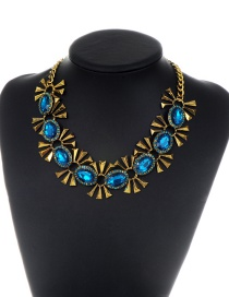 Fashion Blue Oval Shape Diamond Decorated Necklace
