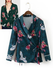 Trendy Multi-color Cranes&flower Decorated Long Sleeves Coat
