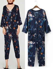 Trendy Multi-color Flower Pattern Decorated Simple Jumpsuit
